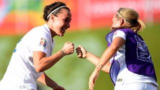 Lucy Bronze of England celebrates after scoring her teams second goal