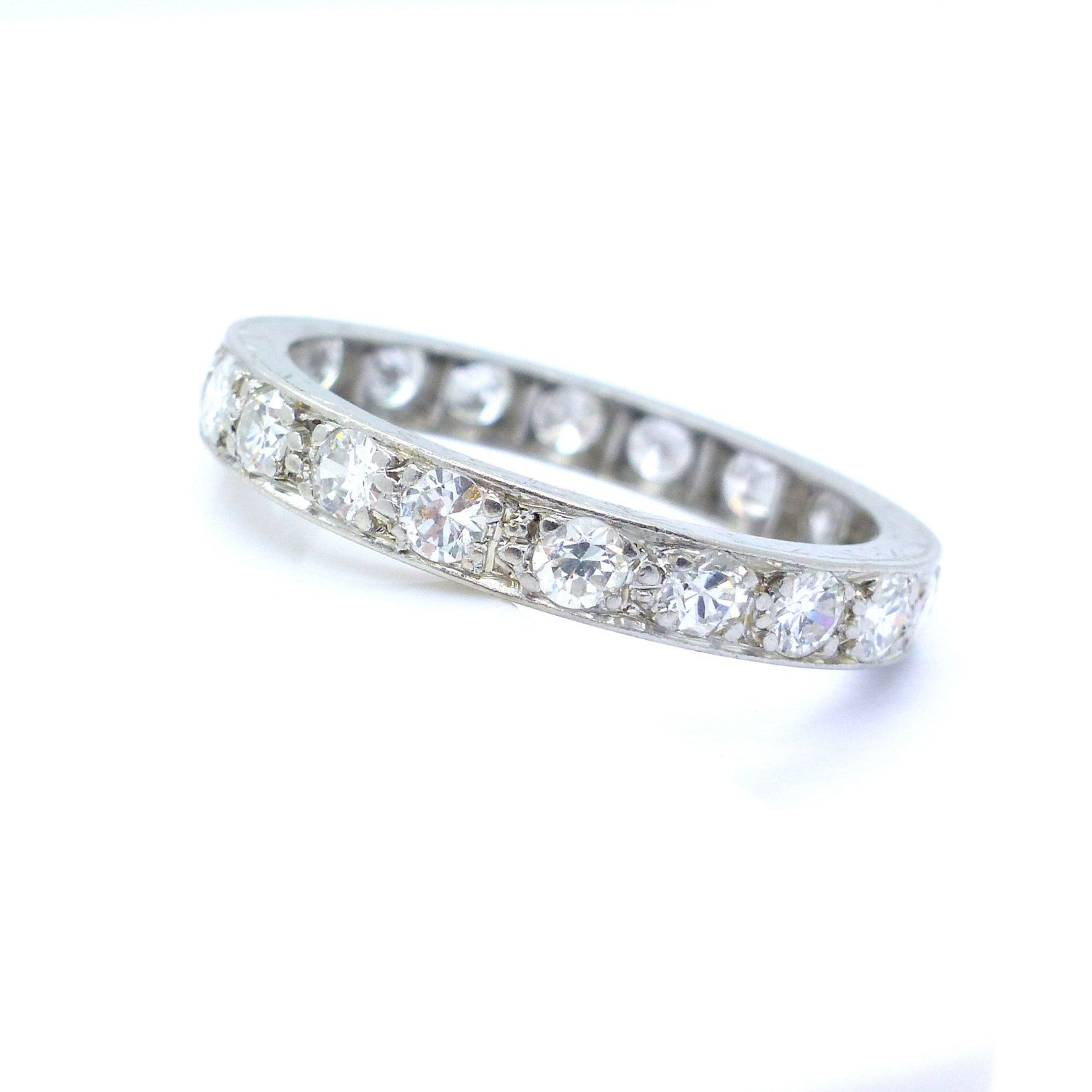 pin band ring bands wedding floating bubble matching full eternity prong diamond single