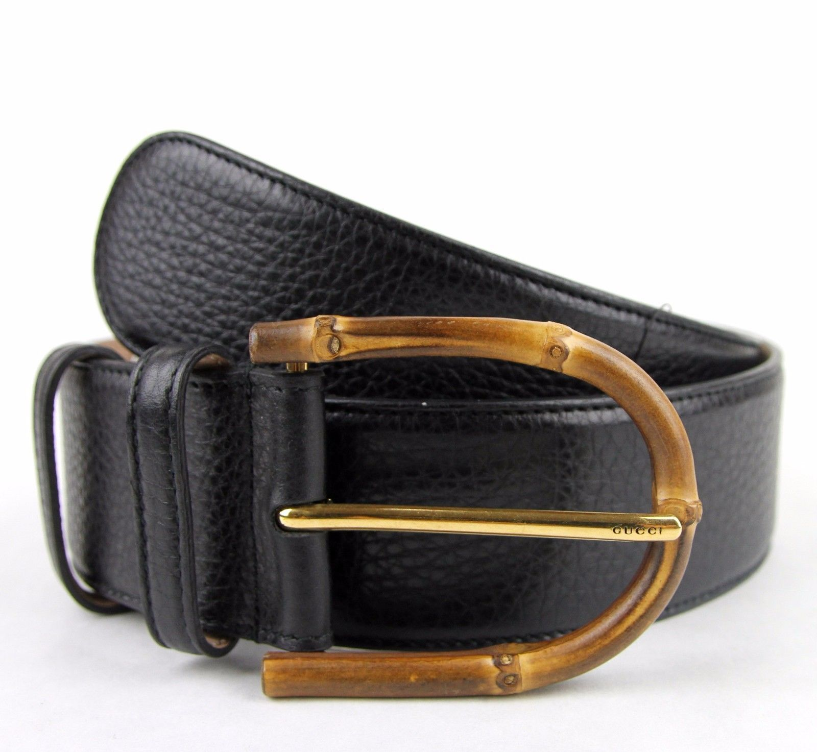a0c814b33 New Gucci Womens Wide Black Leather Belt w/Bamboo Buckle 322955 1000 ...