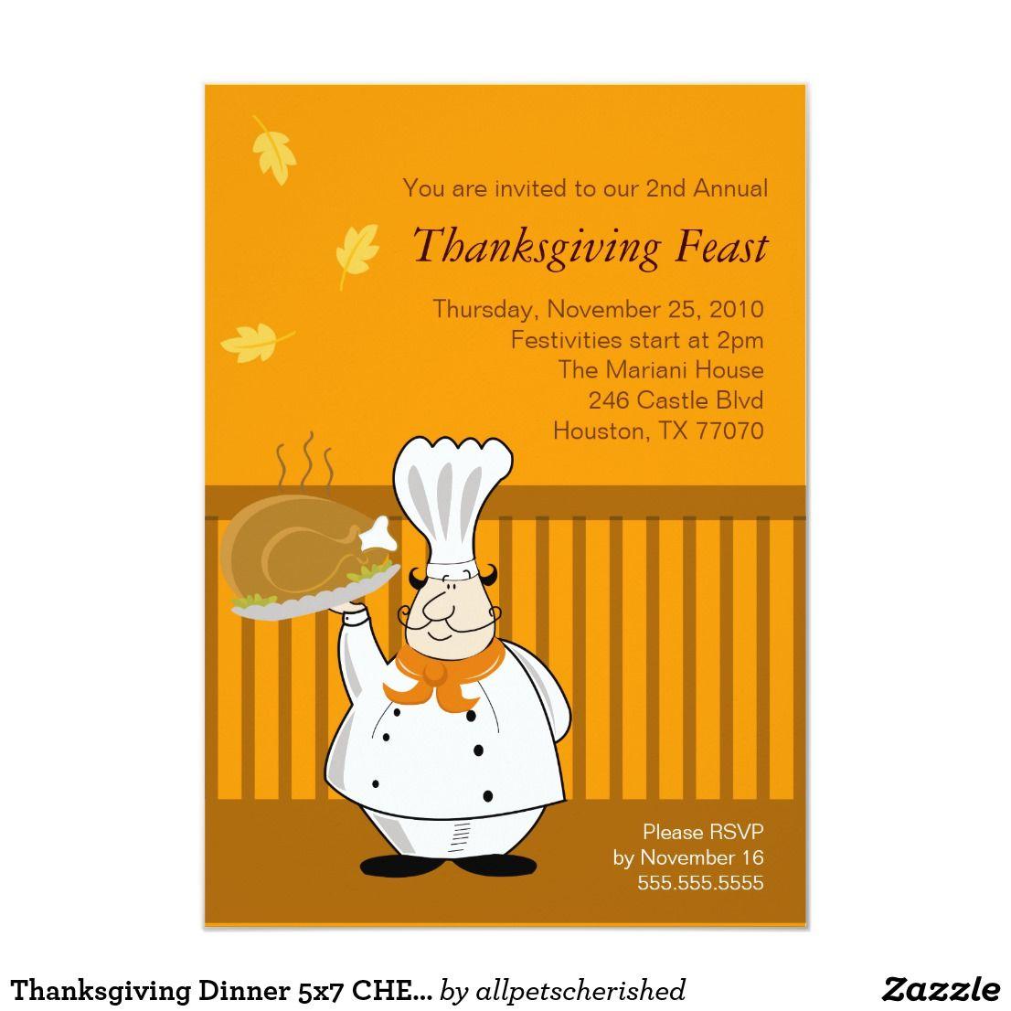 Thanksgiving Dinner 5x7 Chef Turkey Invitation