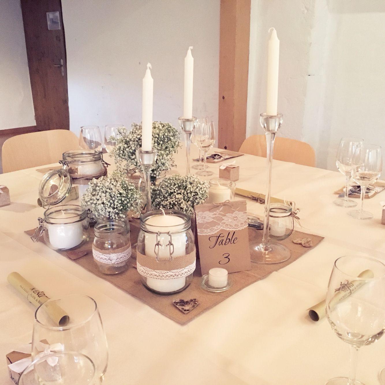 Meine Rustikale Tischdeko Alles Mit Jutte Kerzen Glas Und Spitze