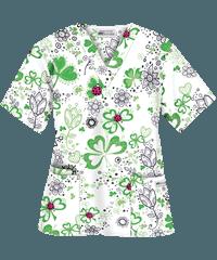 4663a755430 UA Ladies and Clovers White Print Scrub Top | I love my scrubs ...
