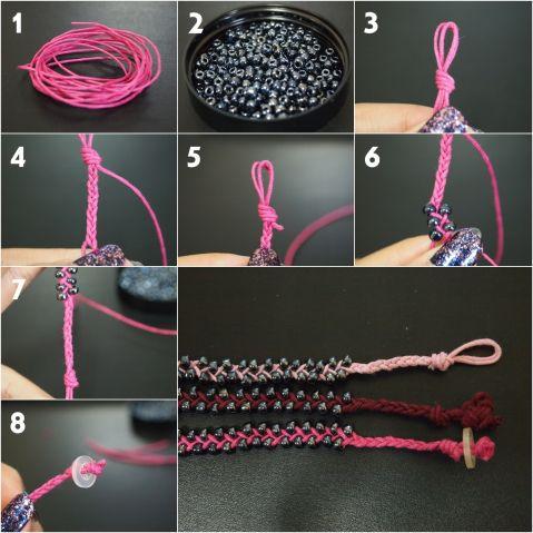 Diy Braided Bead Bracelet Beaded Bracelets Diy Bracelet Crafts Jewelry Crafts