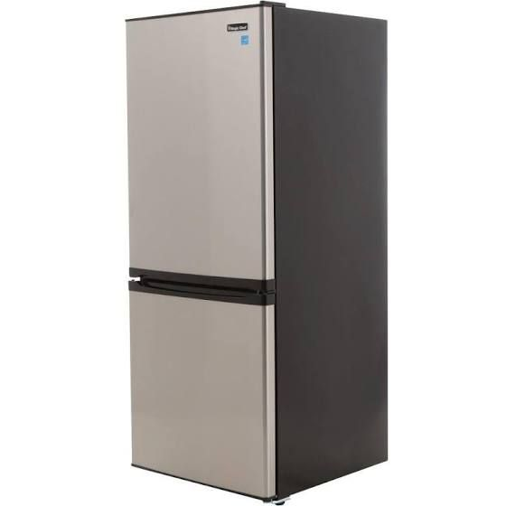Magic Chef 23 8 In W 9 2 Cu Ft Bottom Freezer Refrigerator In Stainless Bottom Freezer Refrigerator Bottom Freezer Magic Chef