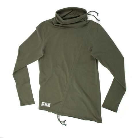 DETAILS Slim fit with long sleeves Snood Neck with drawstrings Diagonal drawstring feature running from...