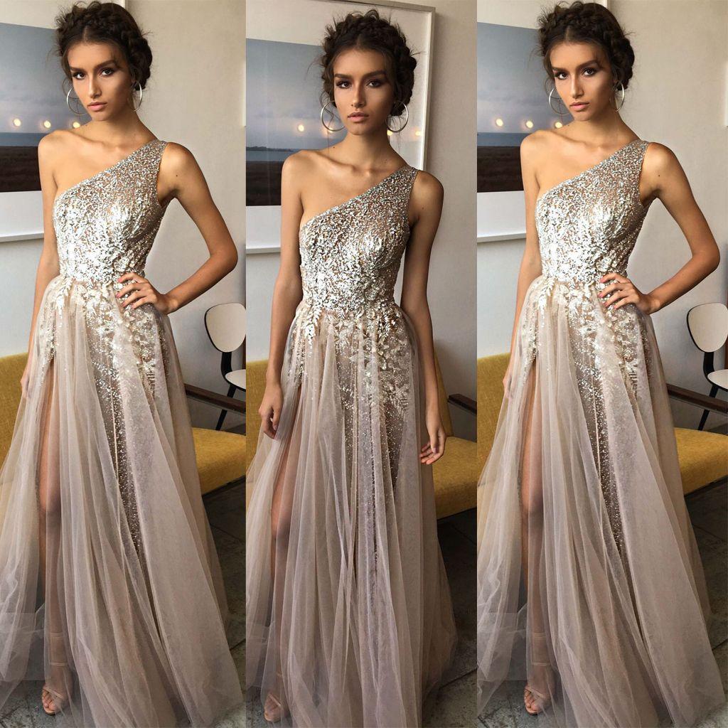 aline one shoulder shinning side split floorlength tulle prom