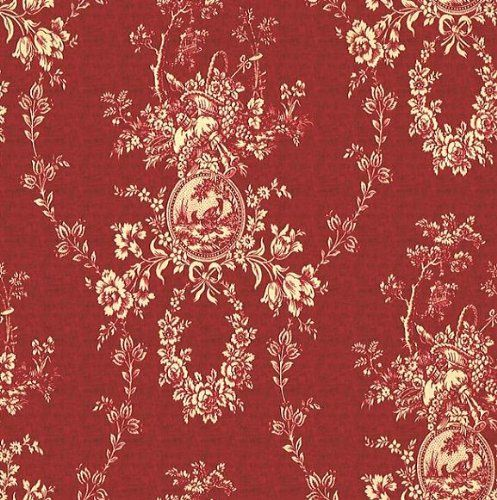 54 Fabric Country House Color Red Waverly Toile Fabric By The Yard Waverly Z Red Toile Grasscloth Wallpaper
