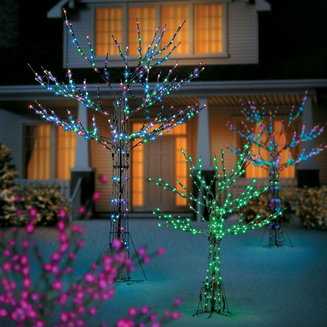Add Some Animation To Your Outdoor Christmas Decor With Color Changing Trees Chris Outdoor Christmas Tree Decorations Outdoor Christmas Tree Outdoor Christmas