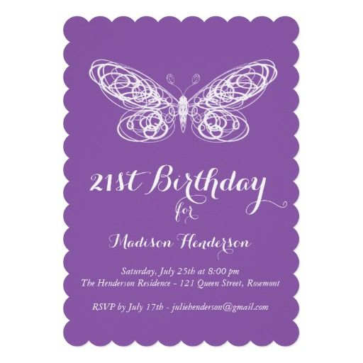 Purple Butterfly 21st Birthday Invitation