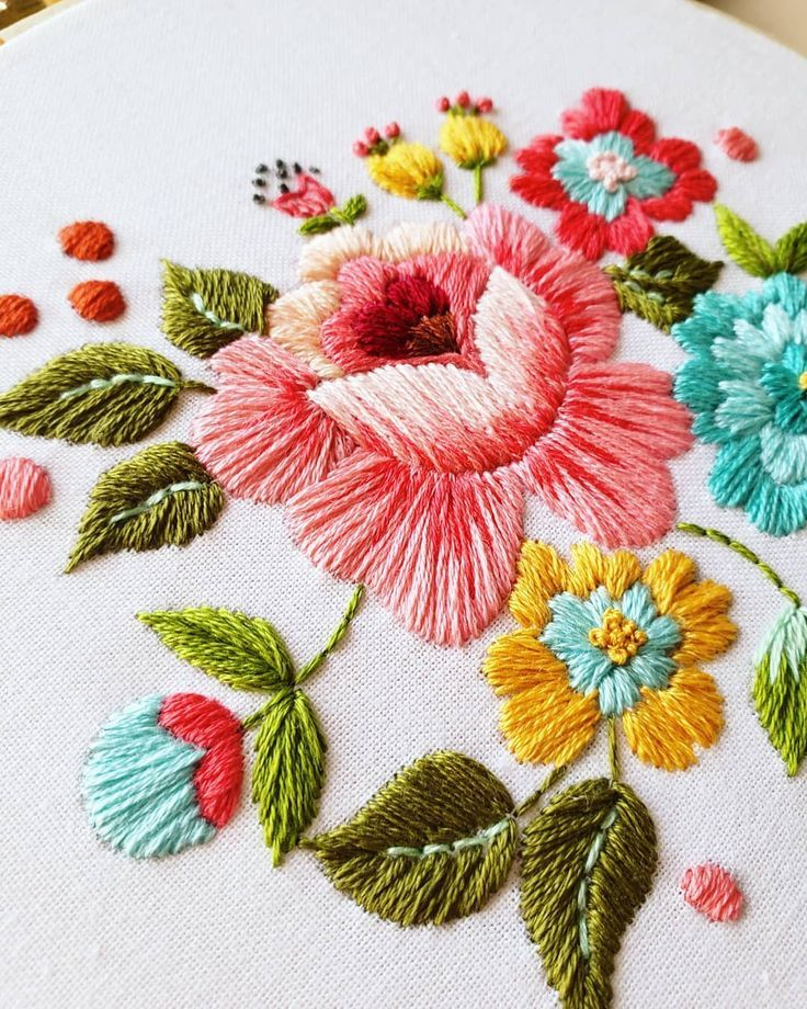 Beautiful rose hand embroidered by @thekitschystitcher DMC threads DMC embroidery Hand emb… in ...