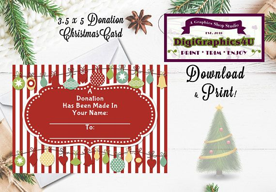 Printable Charity Christmas Donation In Lieu Of 3.5 x 5 ...