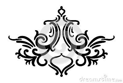 Symmetrical Hand Drawn Damask Style Design Element Elegant Fancy Pattern With Curves Curls And Swirls