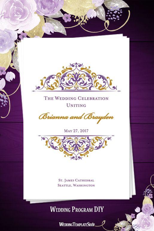 Wedding Program Template Grace Purple Gold Wedding Programs