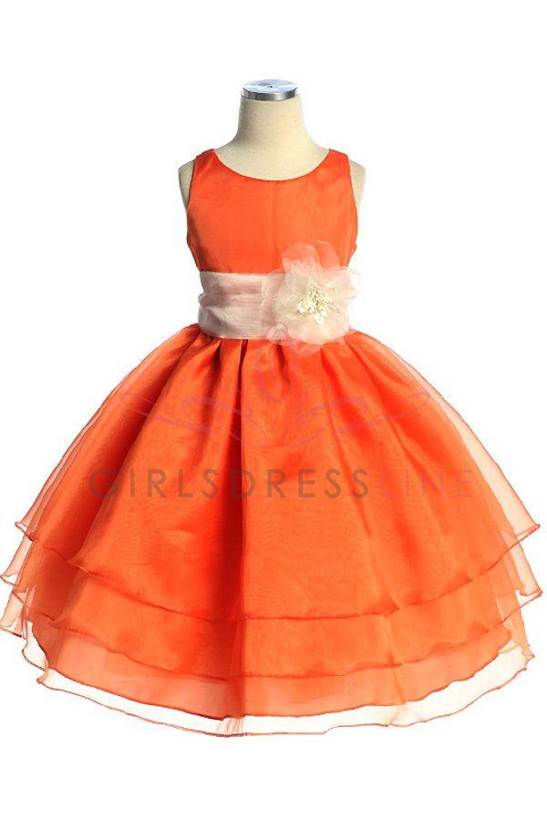 29f1a93e17f Orange Organza Simple Layered Flower Girl Dress with Sash CD-574-OG  56.95  on www.GirlsDressLine.Com