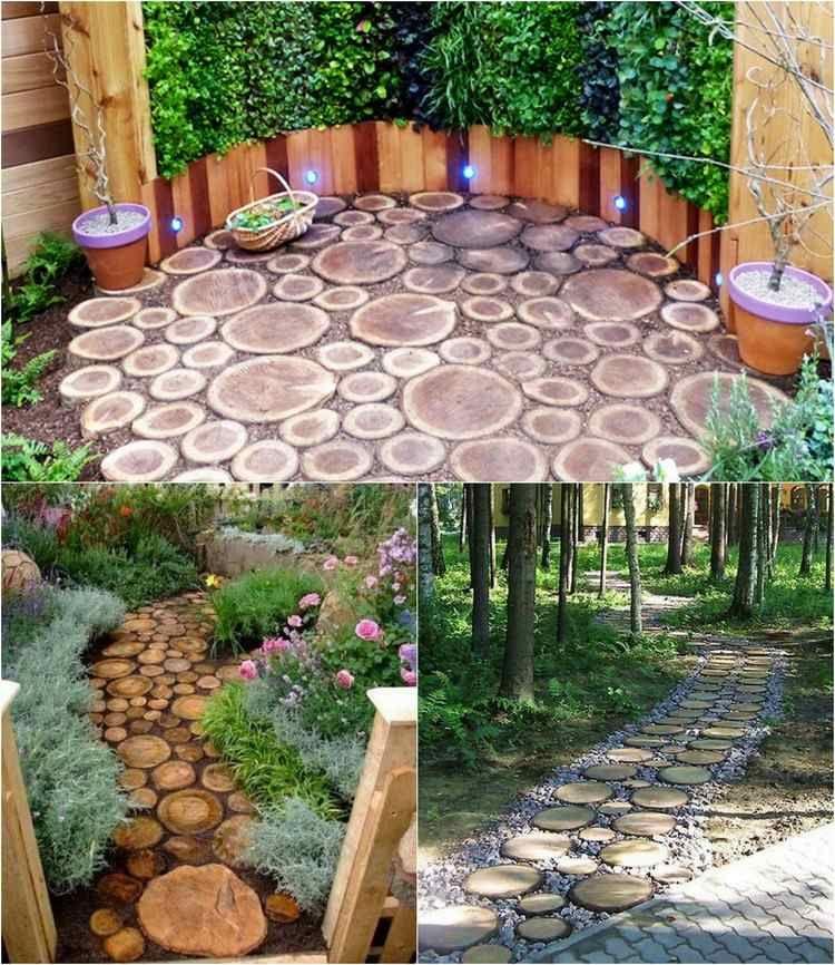 Kies Zwischen Den Holzscheiben Verteilen Gartenweg Gartenwege Anlegen Garten