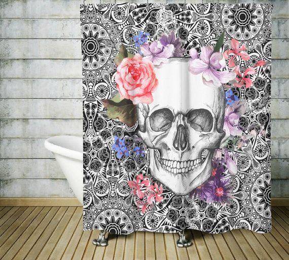 Sugar Skull Shower Curtain Dia De Meurtos Shower By Folkandfunky Skull Shower Curtain Sugar Skull Shower Curtain Skull Decor