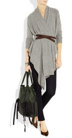 Draped cardigan clinched with belt, leggings, flats