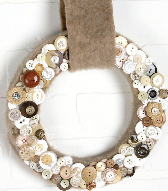Button Wreath or make one out of beer caps!