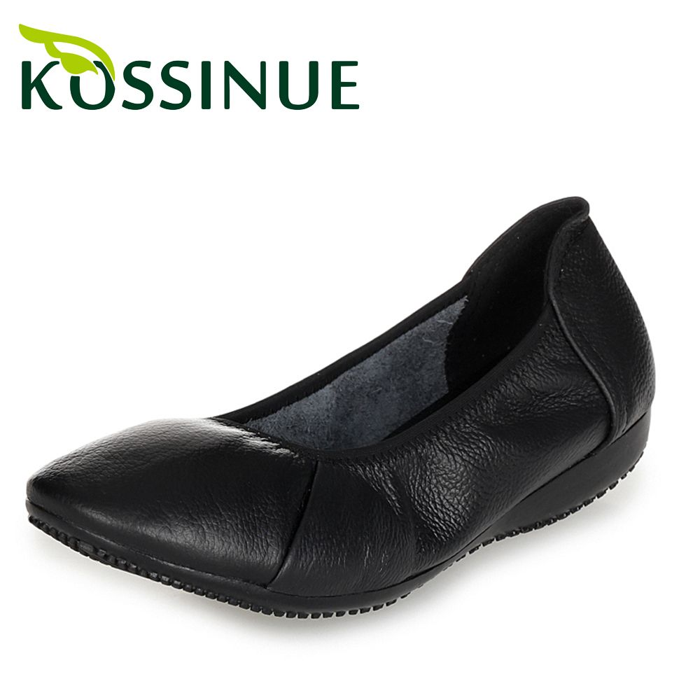 4d841a133d837 New women work shoes big size 35-43 black single shoes genuine leather flat  heel shoes women comfortable leather casual shoes