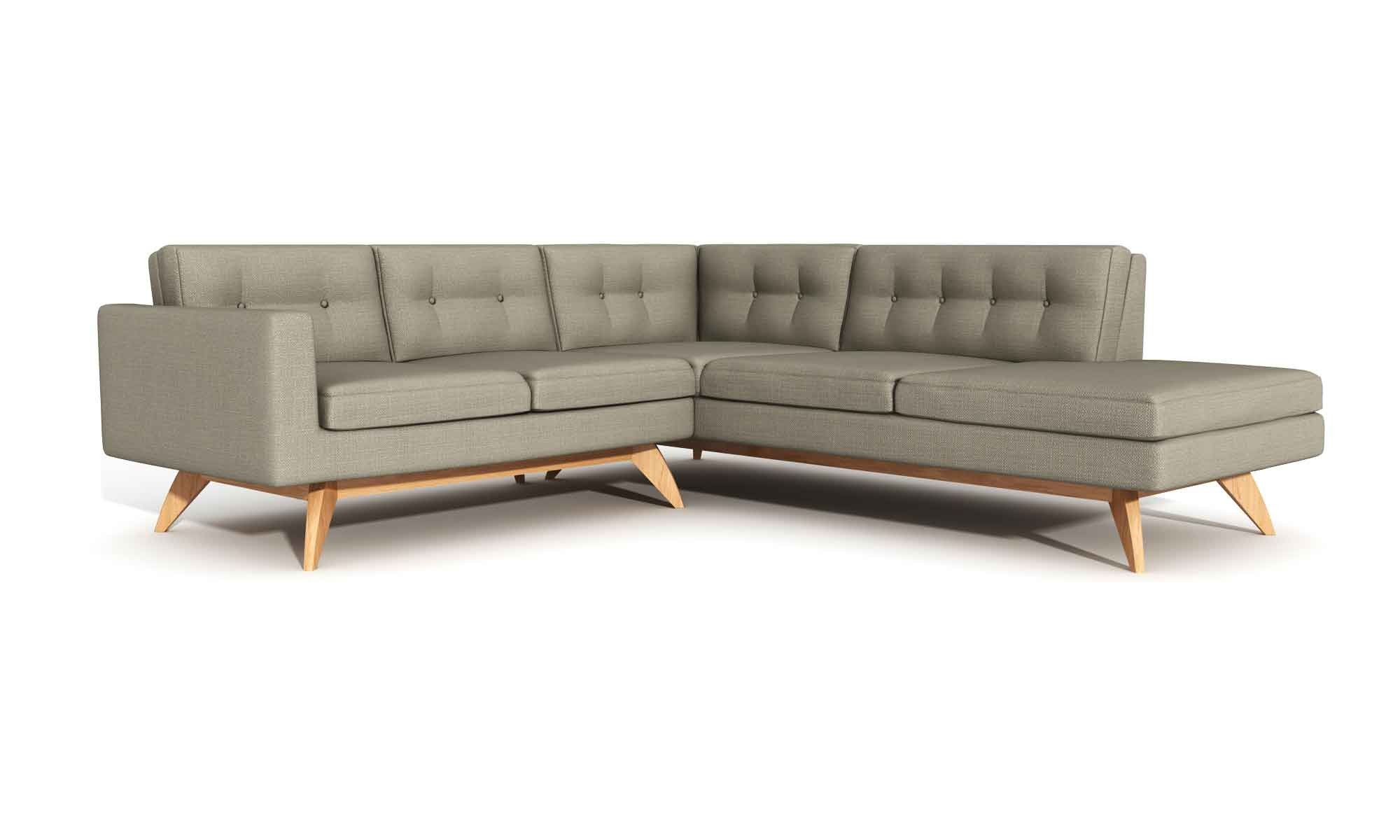Luna Sectional Sofa With Bumper Charcoal With Natural Walnut