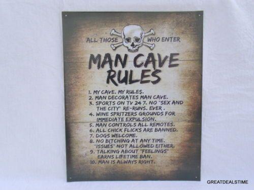 Man Cave Rules : Man cave rules sign skull bones metal tin decor shop gameroom funny