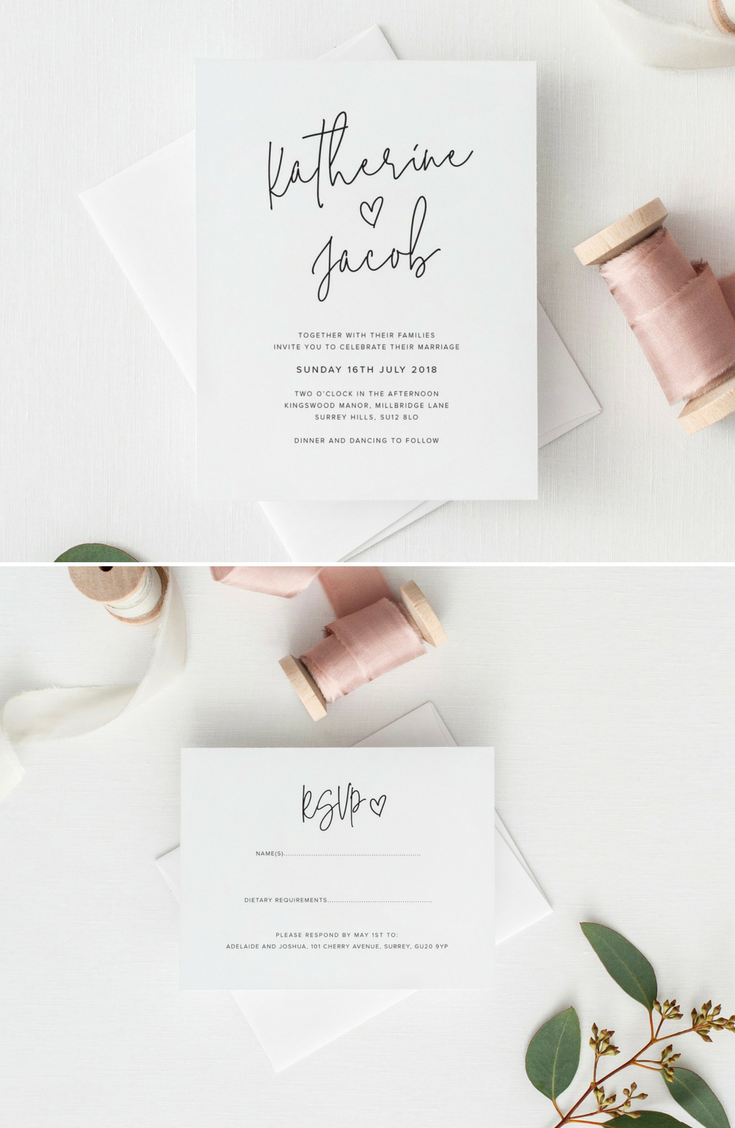 Modern Wedding Invitation Suite. Printable Wedding Stationery. https ...