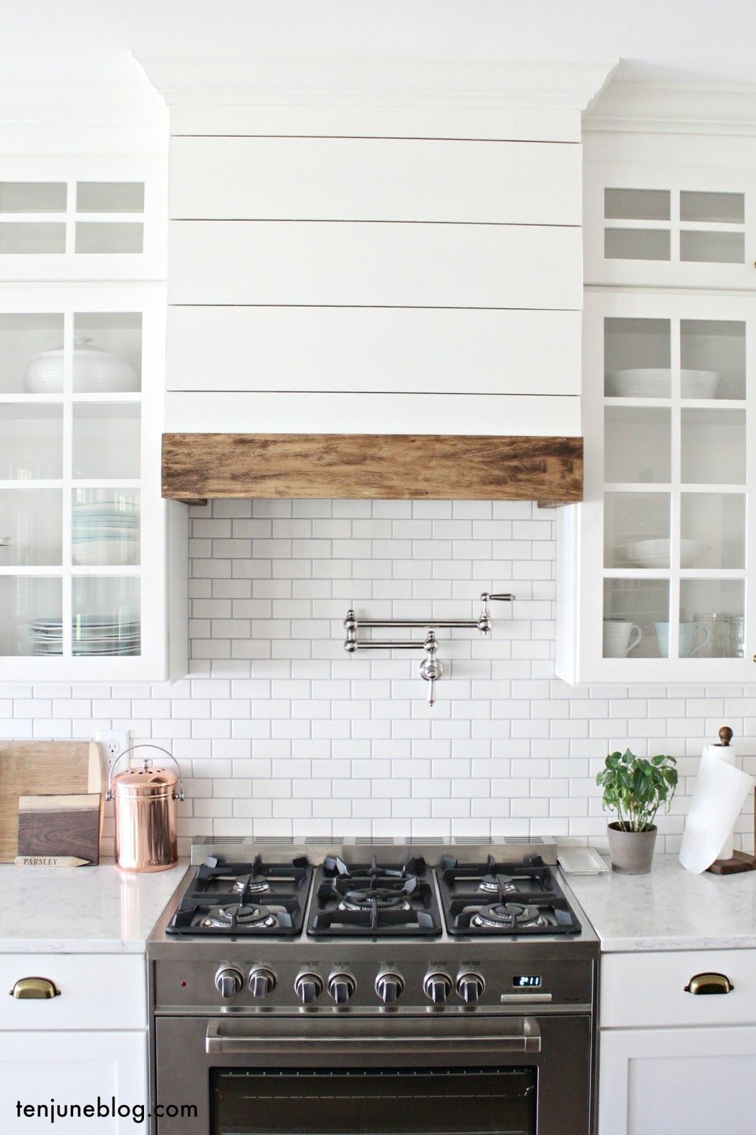 Ten june our farmhouse kitchen a lived in tour wood for Kitchen range hood images