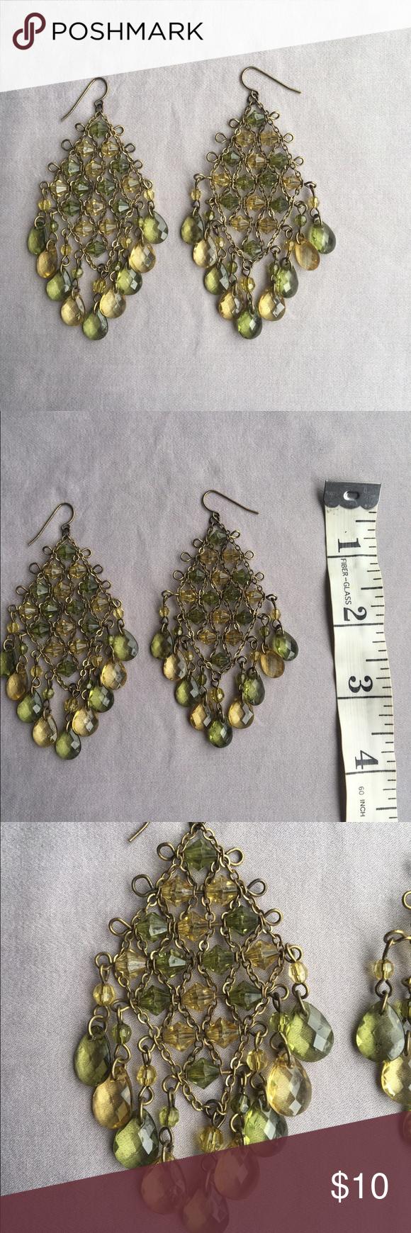 Green earrings Green and yellowish beadded earrings. Never worn Jewelry Earrings