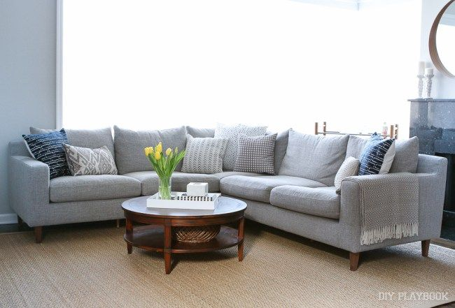 Interior Define Gray Couch Family Room