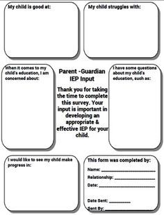 Free - Special Education IEP Parent Input Form - Free -This Parent ...