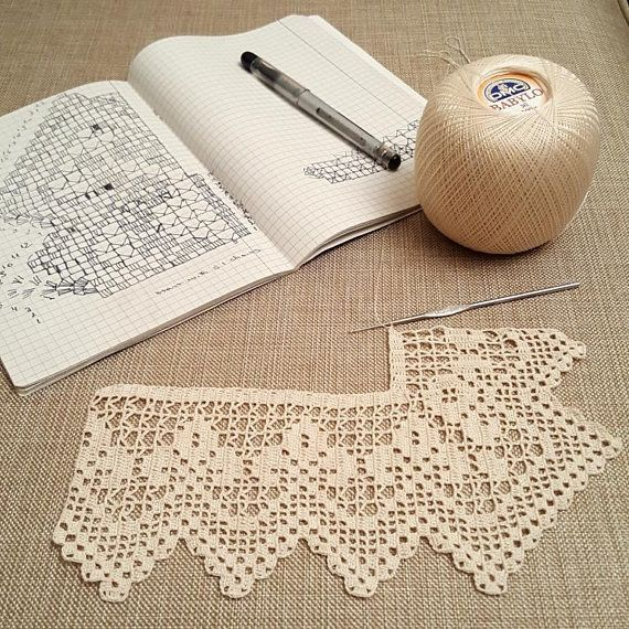 Hand crocheted border, filet crochet lace trim, linear or turning edge for home decor, wide lace border, cream fine crochet handmade edging #vintage home accent #filetcrochet
