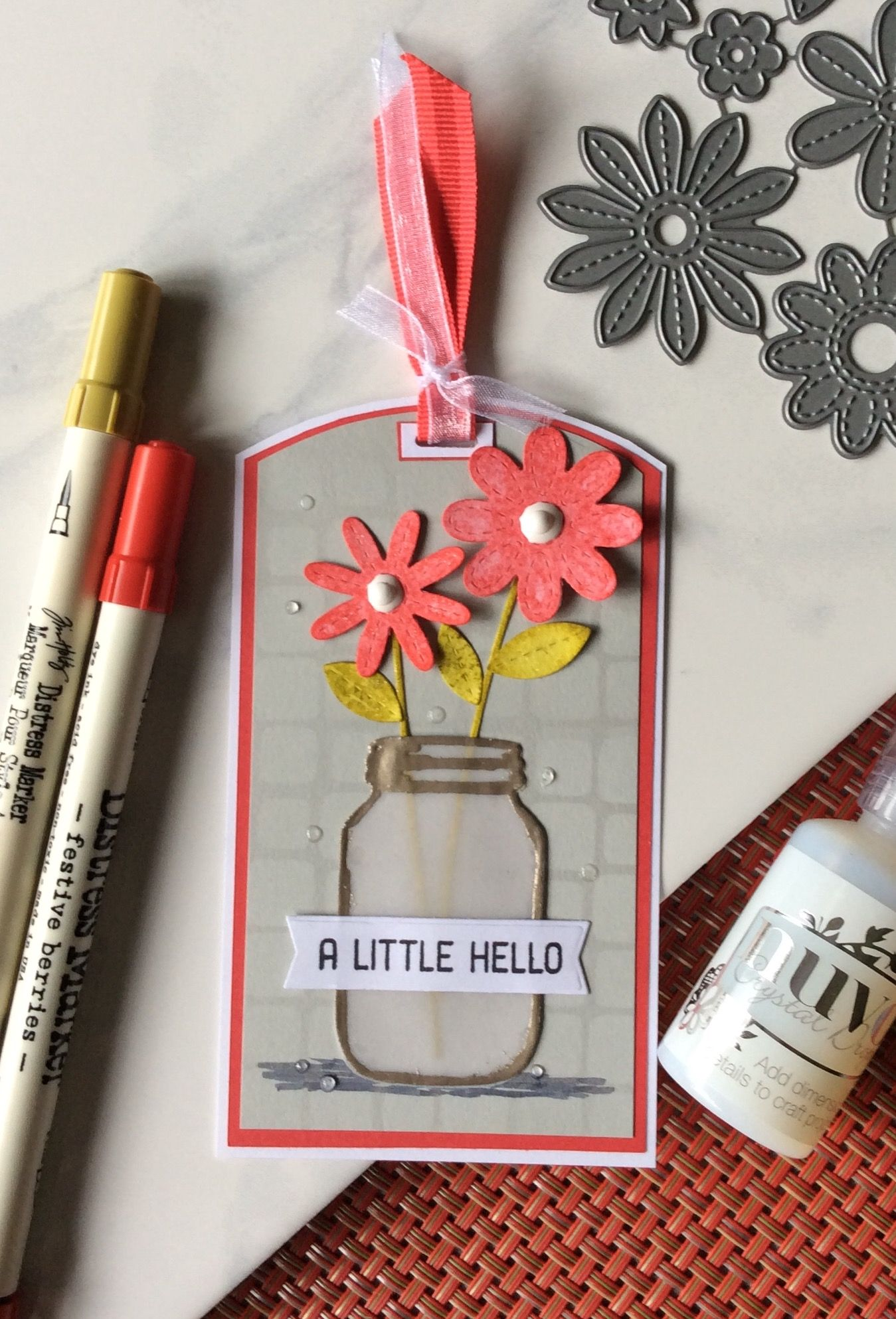 A Little Hello Flower Tag Mason jar tags, Flower cards