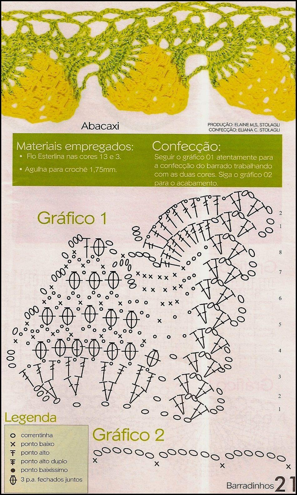 Barradinhos Com Graficos Diagrama Guardanapo Crochet Orlas Em