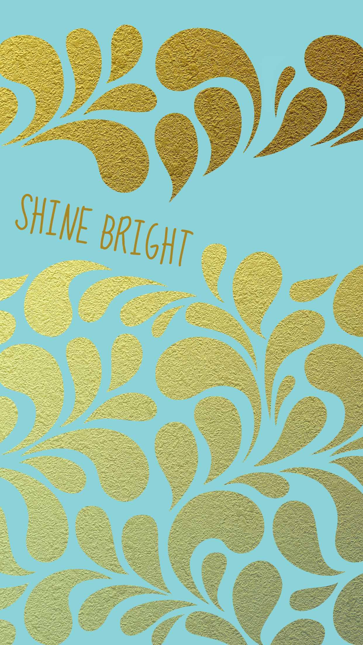 Shine Bright Tiffany Blue Gold Iphone Wallpaper Background