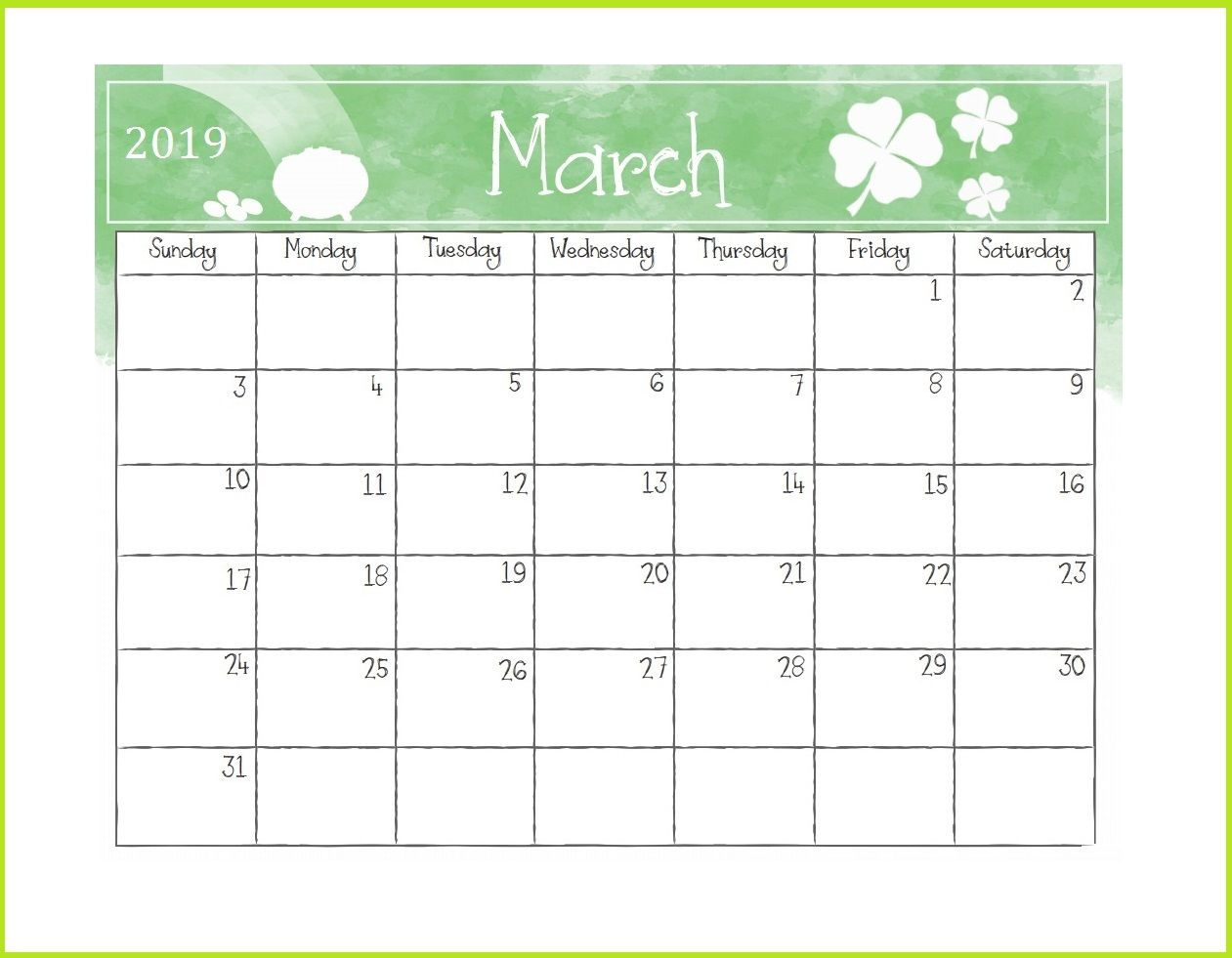 Printable March 2019 Desk Calendar Template Planner Free Download