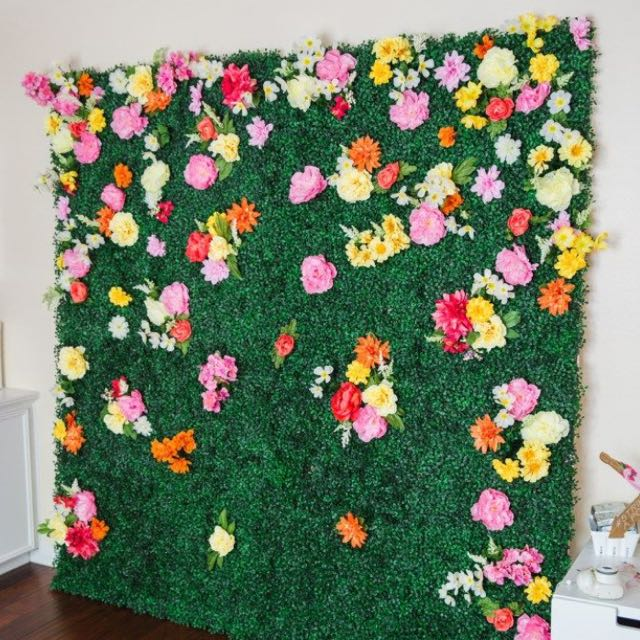 11 sq ft 4 panels artificial lime green boxwood hedge on interior using artificial boxwood panels with flowers id=13422