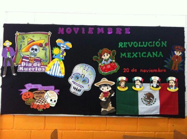 Periodico mural noviembre sal n de clases pinterest for Murales faciles y creativos