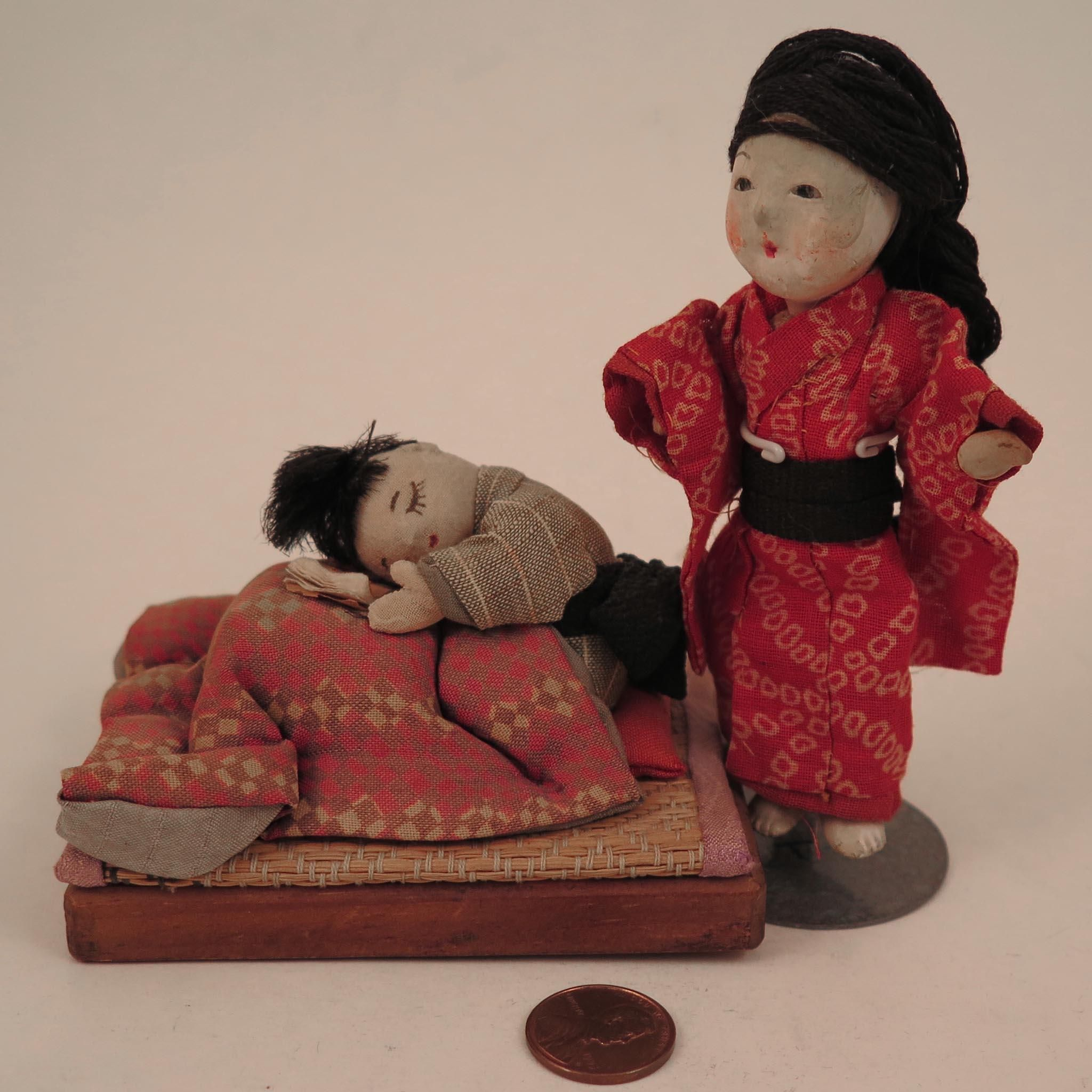Vintage Japanese Boy and Girl Dolls Doll House Size