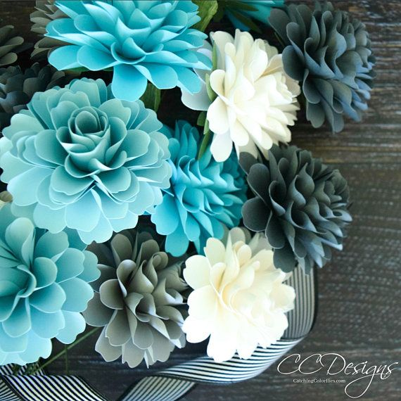 small dahlia paper flower template  diy paper flowers paper wedding bouquet  svg and pdf flower