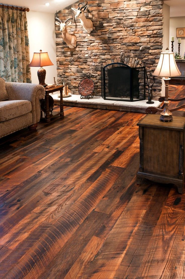 Barn Wood Flooring - Rustic Living Room with Barn Wood Flooring - Reclaimed Tobacco Pine Flooring Wide Plank Tobacco Pine Ohio