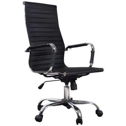 Chaise Fauteuil de Bureau Cuir Noir inspir de Eames Aluminium
