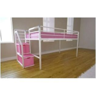 Dhp Junior Loft Bed W Step Amp Storage White W Pink Steps