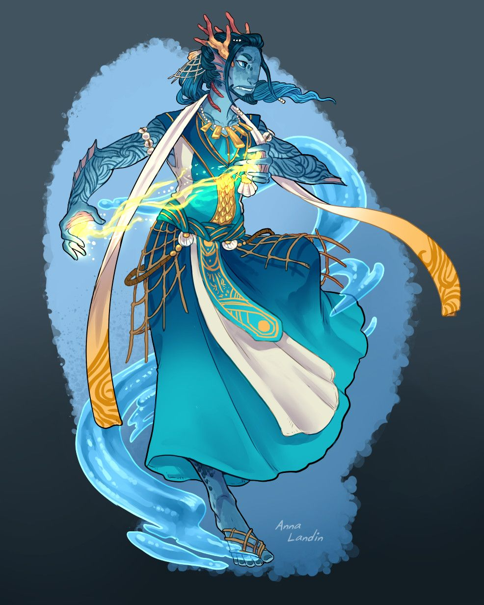Acros, Triton Sorcerer, Anna Landin on ArtStation at https://www.artstation.com/artwork/9GD4L ...