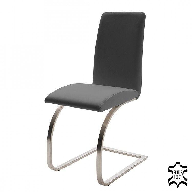 Schwingstuhl Maui 2er Set Echtleder Grau Loftscape Freischwinger Stuhle Schwingstuhl