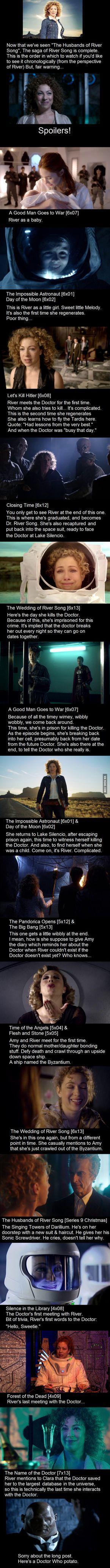 River Song's Timeline. Watch in this order if you'd like to see River's journey in Doctor Who #drwho Sie inetessieren sich für den einzigartigen Gentleman Look? Schauen Sie im Blog vorbei www.thegentlemanclub.de