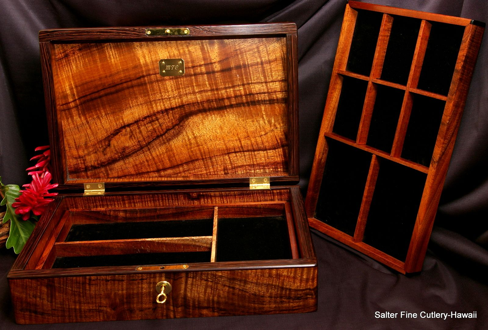 Mens large jewelry box with two removable trays plus hidden secret