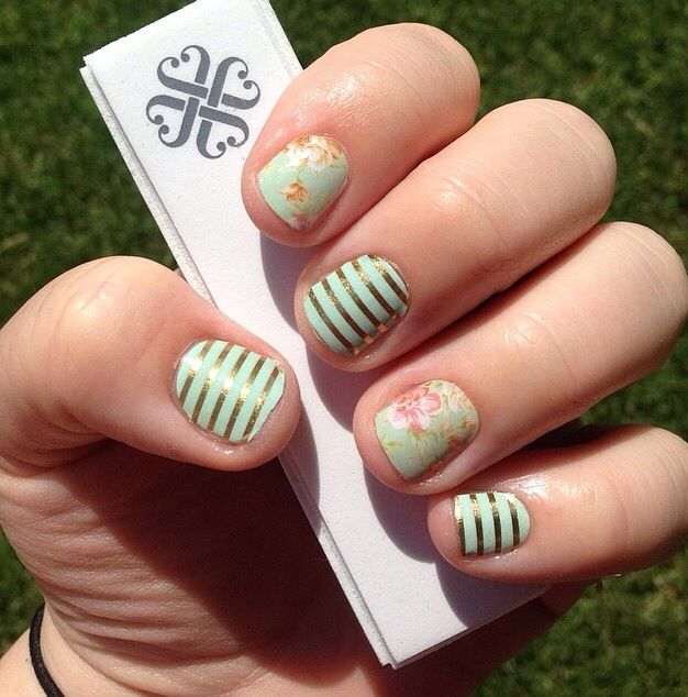 Jamberry Vintage Chic & Mint and Gold Stripes (found on Instagram)