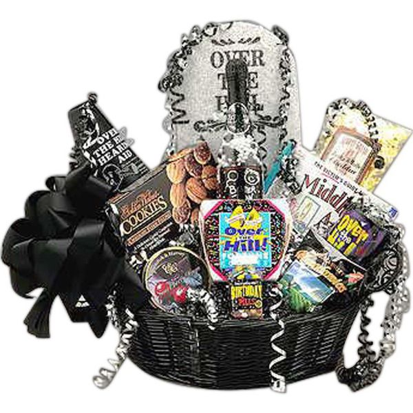 """Over the Hill Birthday Gift Basket! That over-the-hill birthday will be lots of fun when the Over The Hill gift basket arrives. A tombstone towers over cookies, """"over the hill"""" pills, an """"over the hill"""" mug, lots of goodies as well as the Victims Guide to Birthdays book. $54.67 #overthehill #happybirthday #birthdayideas #giftbasket"""