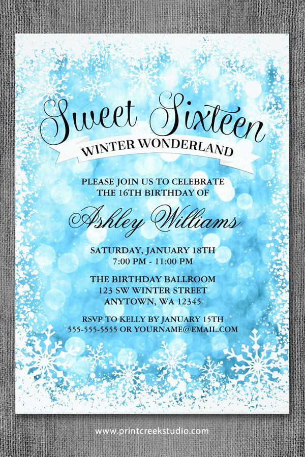 winter wonderland party winter snowflake invitation winter party, party invitations