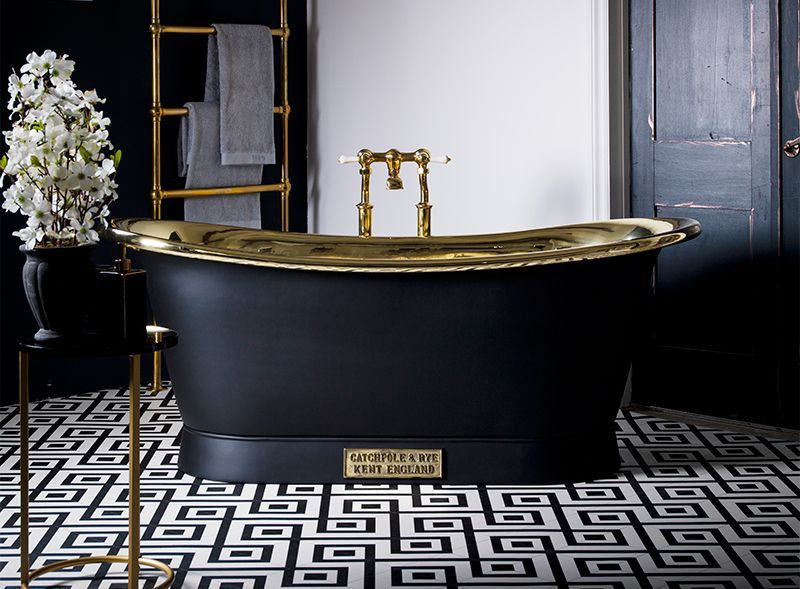 Brass Bath   The Brass Bateau Luxury Freestanding Bath #brass #bathroom
